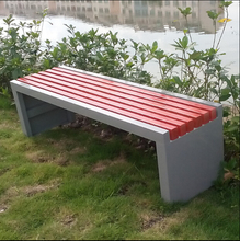 Simple design street rest wpc long metal frame old wooden bench