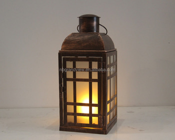 BRASS METAL LANTERN WITH LED SMD FLAME LIGHT INSIDE, GROUND GLASS, BATTERY OPERATED