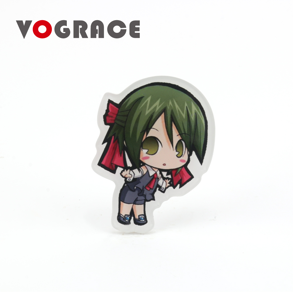 Vograce wholesale <strong>custom</strong> shaped personalized safety clear acrylic badge pin back