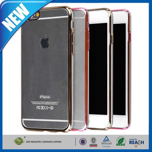 C&T Aluminum Corners + TPU Bumper Case Without Back Panel - Cell Phone Bumper Case for iPhone 6 (4.7 Inch)