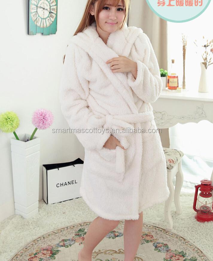 Luxury 1Onesie Ladies Soft Hooded Fleece Bath Robe Dressing