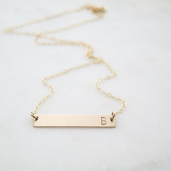custom initial gold bar necklace dainty letter hand stamped gold bar