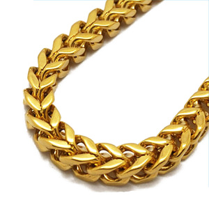 Olivia Hot Stainless Steel Punk Jewelry 18k Gold PVD Plated Chain Necklace 5mm Franco Gold Chain For Men