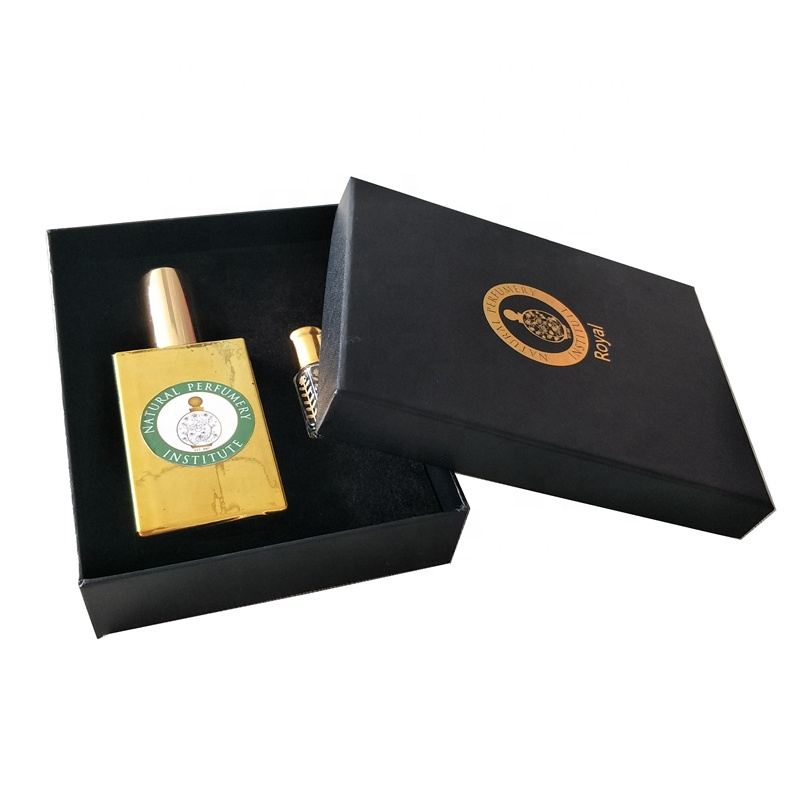 Black base and lid velvet perfume box package with foam insert for bottle