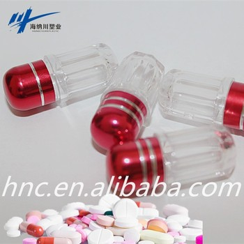 small red container power pills case ps unique shaped plastic bottle