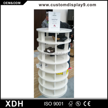Custom Made Round Shoe Display Table Wooden Rack Cabinet