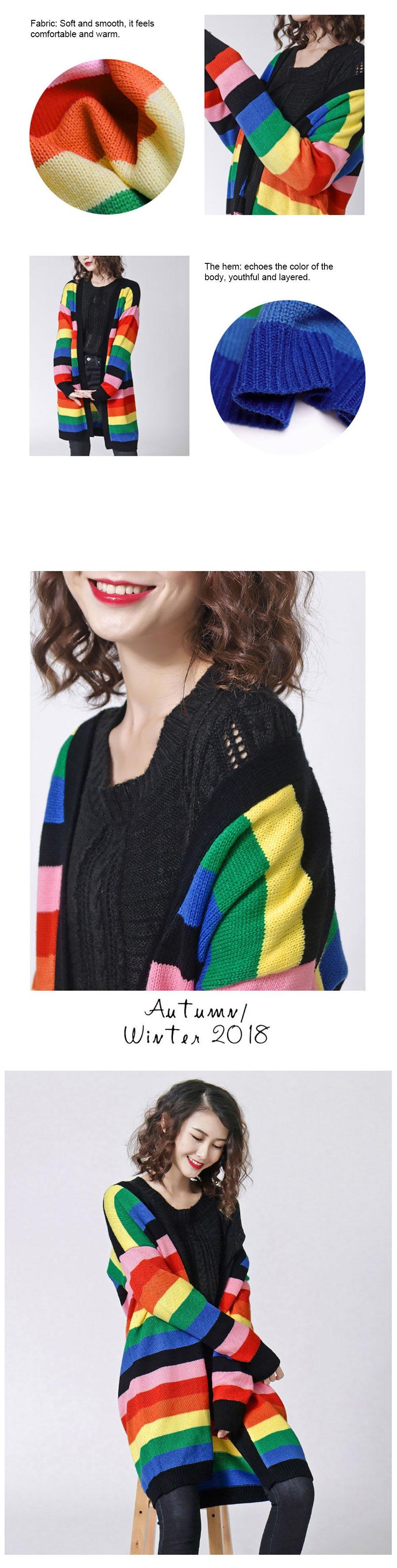 1e2d664c høst vinter regnbue stripe spleising farge strikket cardigan v-hals ...