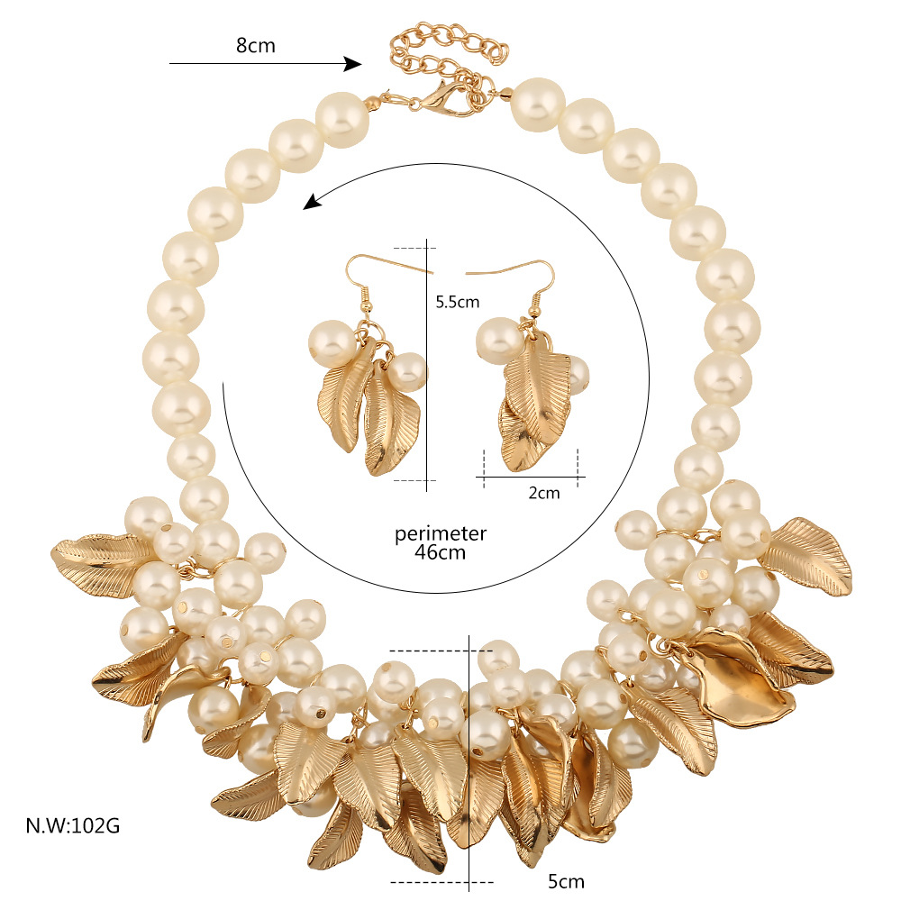 2017Fashion necklace and earrings alloy gold leaf and pearl jewelry <strong>set</strong>