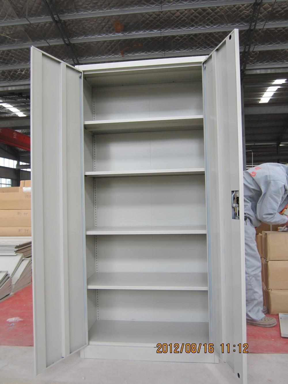 Double Door Grey Color Metal Cabinet Shelf Support 4 Adjule Shelves Office Furniture