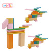MNTL-24 Pieces Wholesale Wood Magnetic Toys For Kids,Custom Brand Intelligent Wooden Toy Tegu 3D Magnetic Blocks