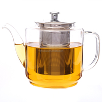 Fire Resistant High Borosilicate Warmer Glass Teapot With Infuser