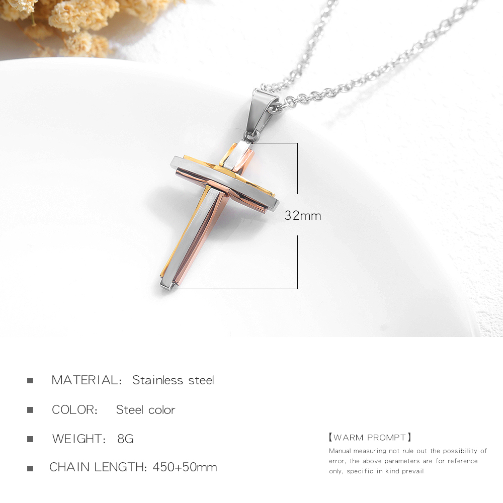 Latest Women Jewelry Two Tone Stainless Steel Charm Cross Pendant Necklace