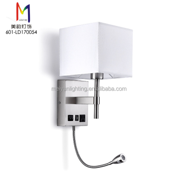 Bedside Reading Wall Lamp With Outlet