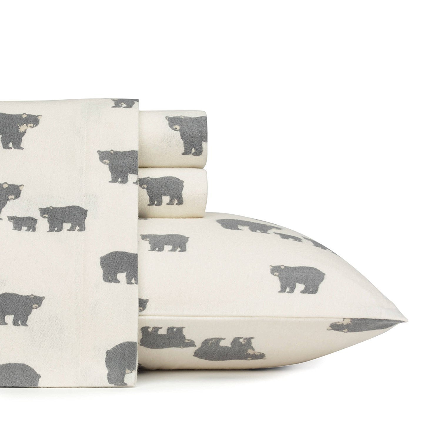 MISC 4pc Ivory Cozy Black Wild Bears Theme Sheets King Set, Cotton Flannel,, Fully Elasticized Fitted, Animal Lodge Cottage, Deep Pocket, Southwestern