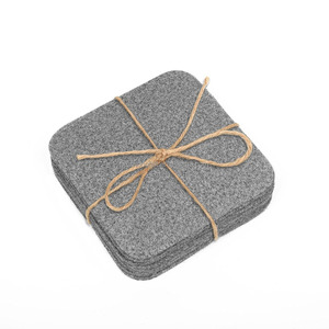 Drink Coasters Square Felt Gray for Drinks Tea Cups Mats