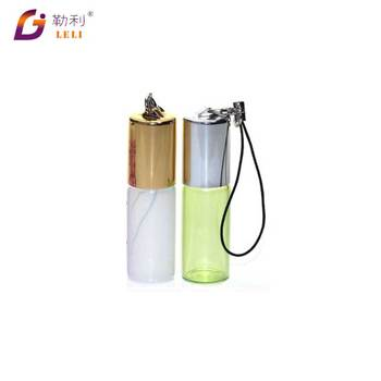 custom design glass bottle with pendant chian