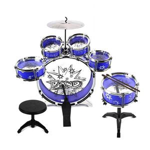 Jazz Drum Set 12 Piece Kids 6 Cymbal, Chair, Kick Pedal, 2 Drumsticks, Stool Kit to Stimulating Children