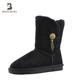 Ladies footwear china slip resistant side hang metal ornament winter fur snow boots shoes
