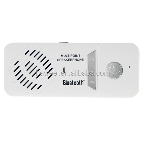 New Bluetooth Multipoint Speakerphone Sun Visor Bluetooth Car Kit with Car Charger(White)