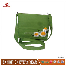 Summer Daisy Embroidery Green Tote Bag for Women Wholesale