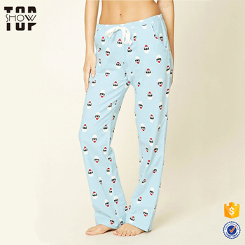 woman clothing 100 cotton santa cat print wholesale christmas pajama pants