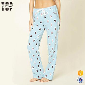 aa491f121c286 Женская одежда 100 хлопок Санта-кошка печати оптом Рождество пижамы брюки