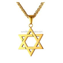 Magen Star of David Pendant Necklace Women Men Chain Black Gun Plated 18K Gold Plated Stainless Steel Israel Necklace