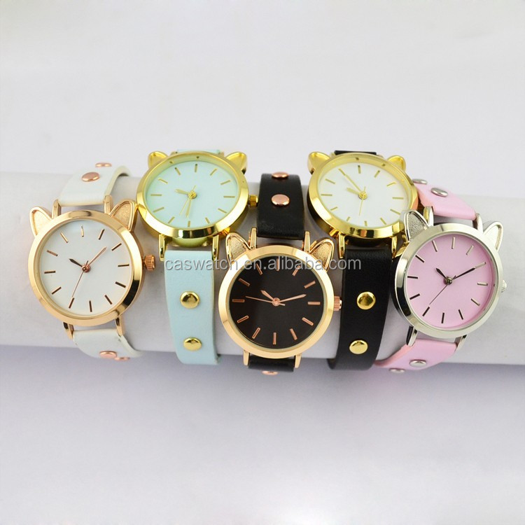 2016 cute cat shape quartz watch for teenage Pretty little lady watches