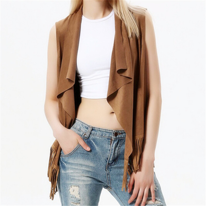 Woman Jacket Spring And Autumn 2015 Plus Size Fringed Edge Fashion Open Lapel Sleeveless Waistcoat Vest Top Street Wear