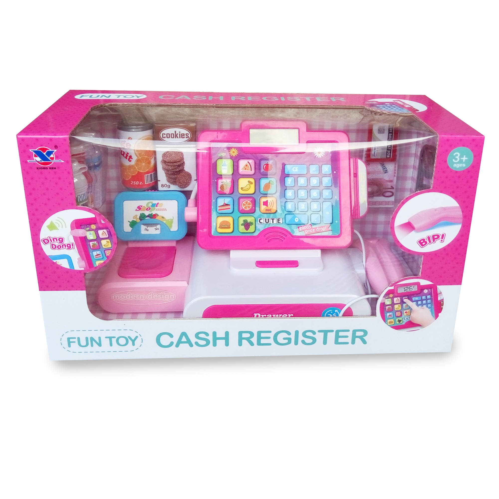 2019 New ABS Plastic Pretend Play Supermarket Children Cash Register Toy With Sounds Light Microphone And Money Box For Girls