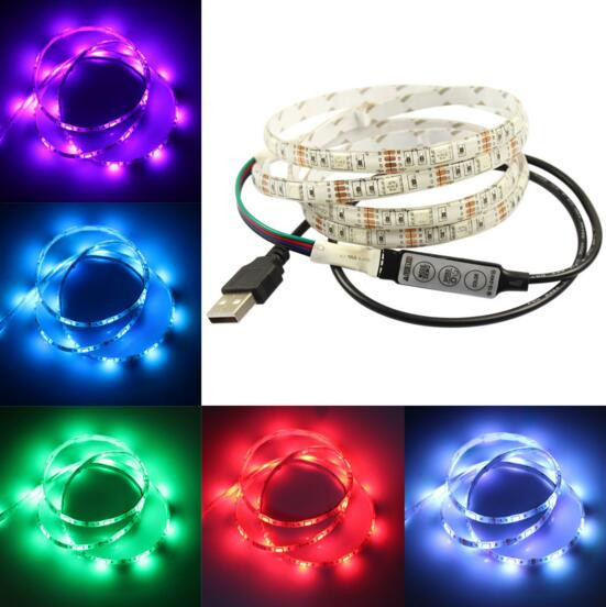 Online shopping LED TV Backlight Kit 1m USB RGB Home Background Waterproof led Strip Lights 5V with Mini Controller