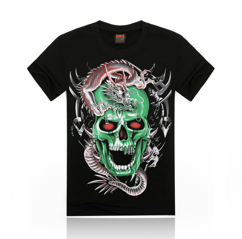 ffb1784185d0 Material Cotton. Sleeve Style short. Get Quotations · Free Shipping fashion  tops summer 3D human skeleton print men T-shirts