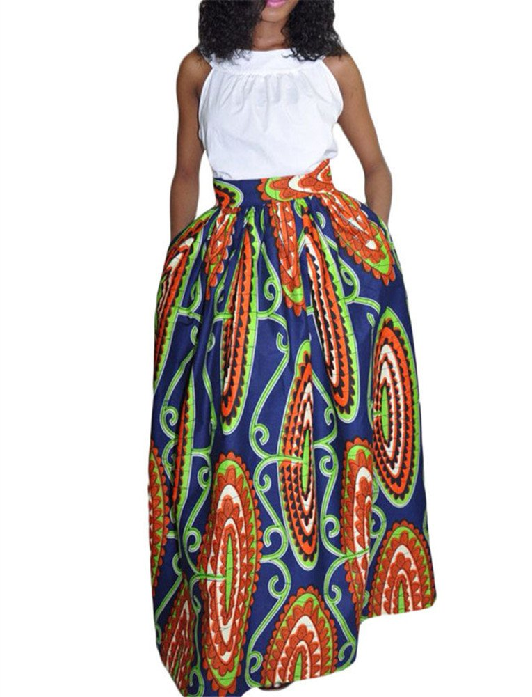 2682832ae3afbb Get Quotations · JomeDesign Women's African Floral Print Casual Pleated  Dress A Line Maxi Skirt