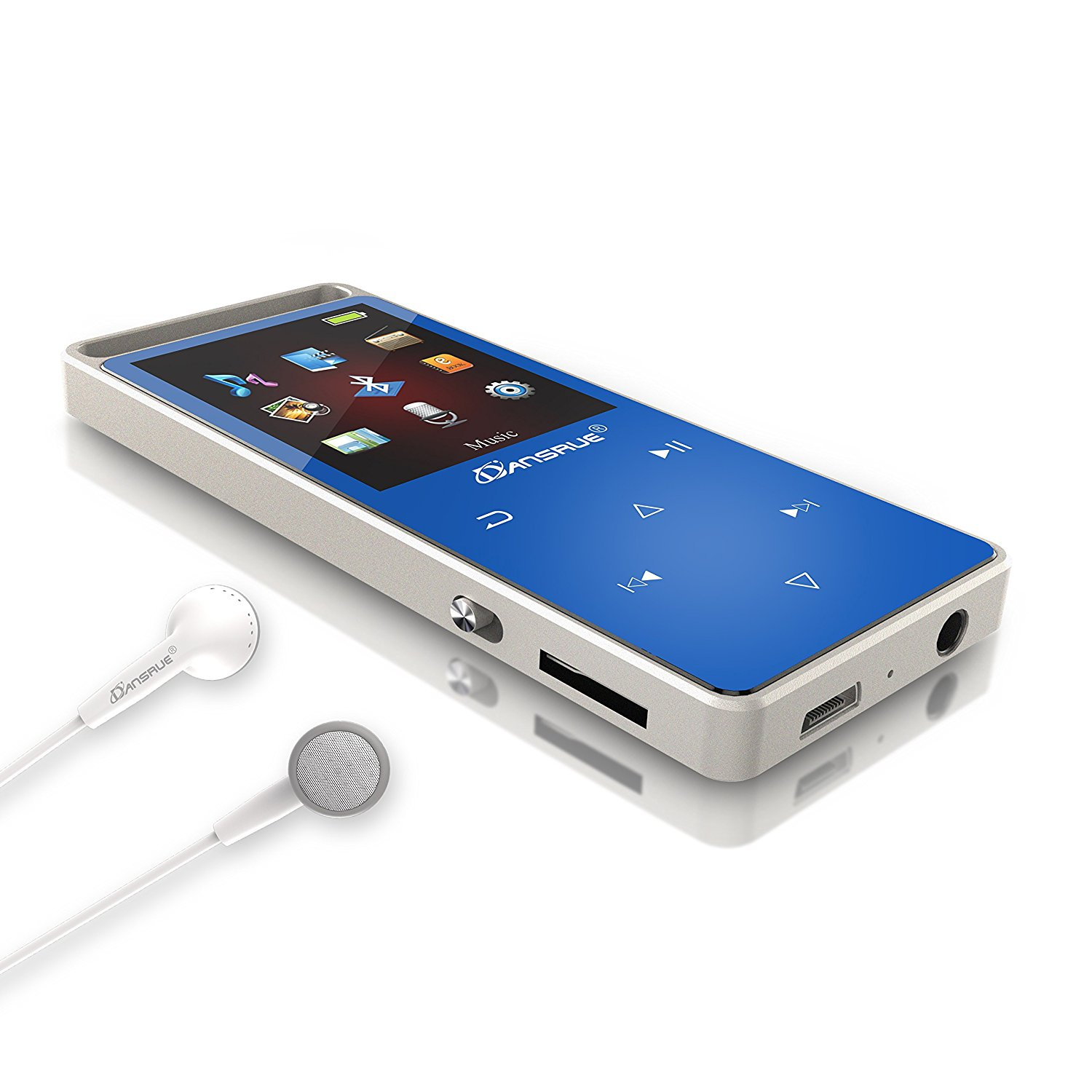 8GB Bluetooth MP3 Player, 50 Hours Playback Lossless Sound Music Player with FM Radio (Supports up to 128GB), Blue