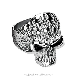New products retro style fashion high quality stainless steel halloween skull nail ring jewelry