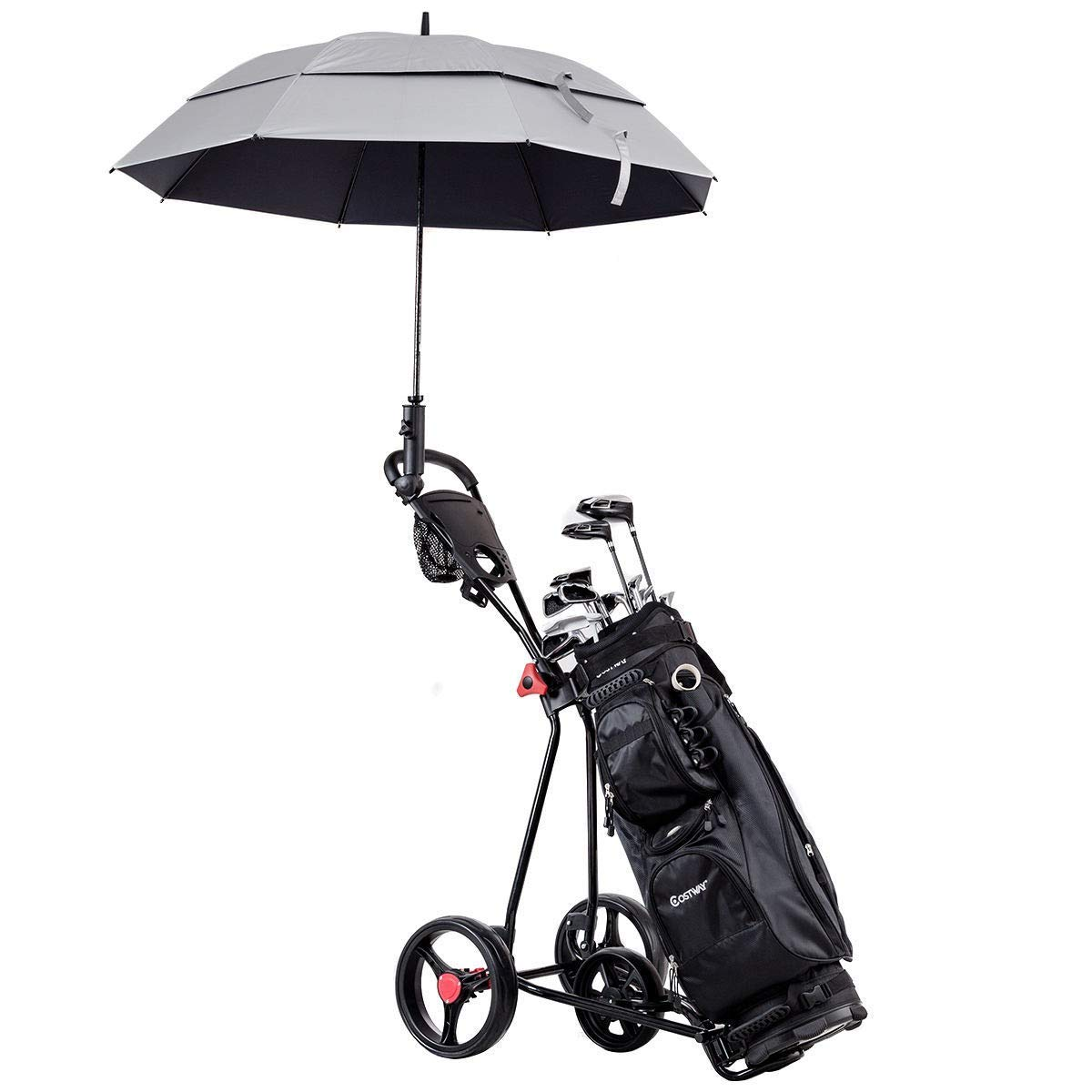 MD Group Golf Cart 3 Wheeled Durable Foldable Steel Lightweight Utility Sports Equipment with Mesh Bag