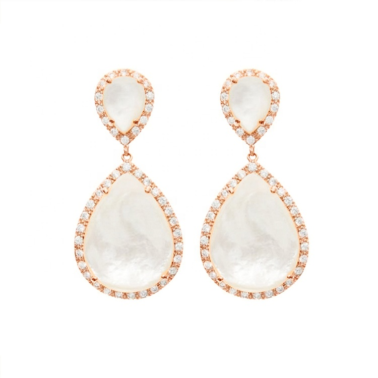 925 silver jewellery pink gold plated mother of pearl jewelry white shell earrings with rhinestone