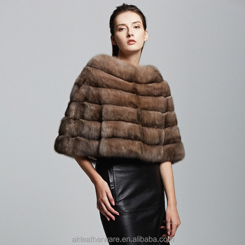Womenswear Short Russian Tortora Sable Fur Coat Wrap
