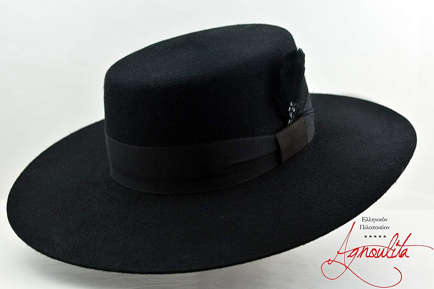 f6cb7cf6d16 Get Quotations · The Dress Bolero - Black Wool Felt Flat Crown Bolero Hat - Wide  Brim - Men