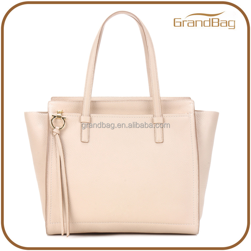 fashion genuine leather women large handbags lady tote bag with zipped front pocket