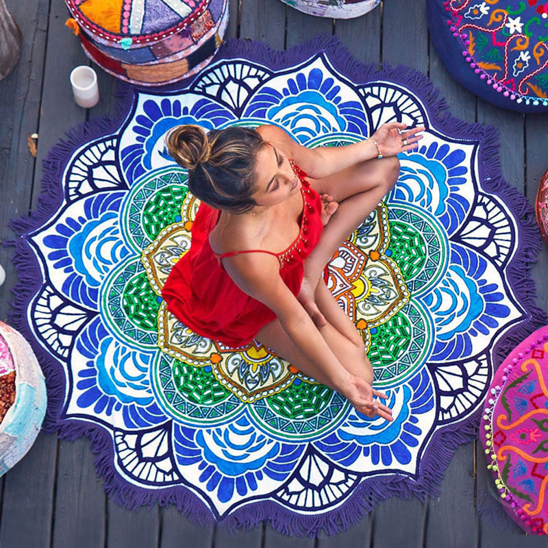 New Hippie Printed Round Indian Mandala Tapestry Wall Hanging Tapestries Beach Throw Towel Yoga Mat DIY Home Decor 150cm