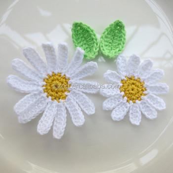свадебные украшения крючком аппликация белый желтый цветок ромашки с листьями