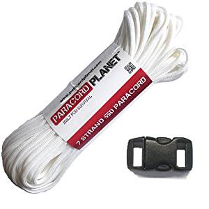 "Paracord Planet 100' Hank Nylon 550lb Type III 7 Strand Paracord with 5 Black 3/8"" Contoured Buckles (White)"