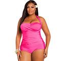 2 Piece Plus Size Bikinis Tankini Top Shorts Swim Suit Halter Strappy Swimwear Women Two Piece