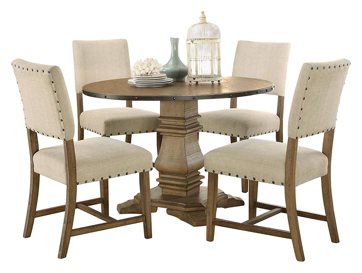 Vanasco Industrial 5PC Dining Set Round Pedestal Table, 4 Chair in Rustic Weathered Wood