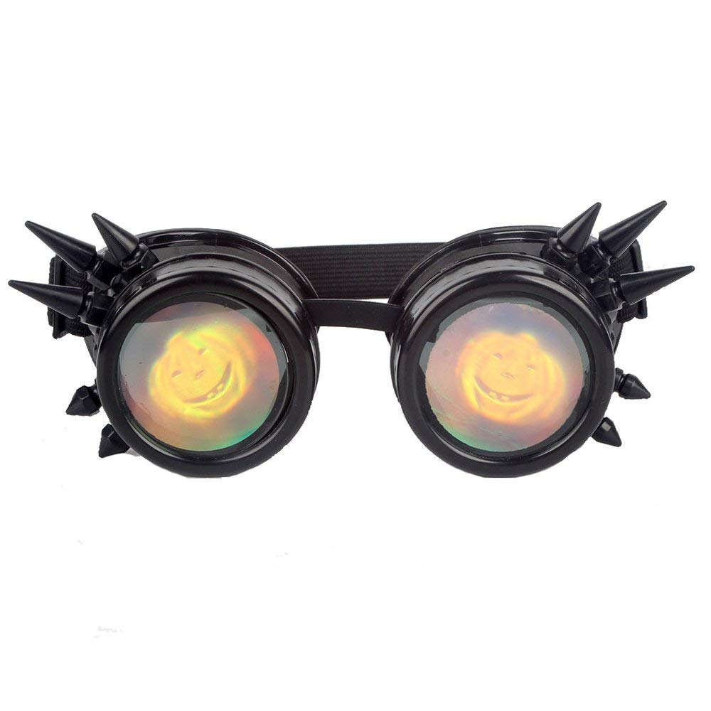 STLY Halloween Spiked Cyber Steampunk Cosplay Vintage Goggles Pumpkin Lens Black Frames