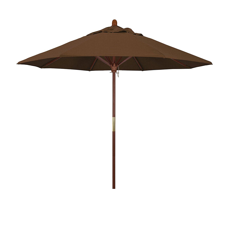 California Umbrella 9' Round Hardwood Frame Market Umbrella, Stainless Steel Hardware, Push Open, Teak Olefin