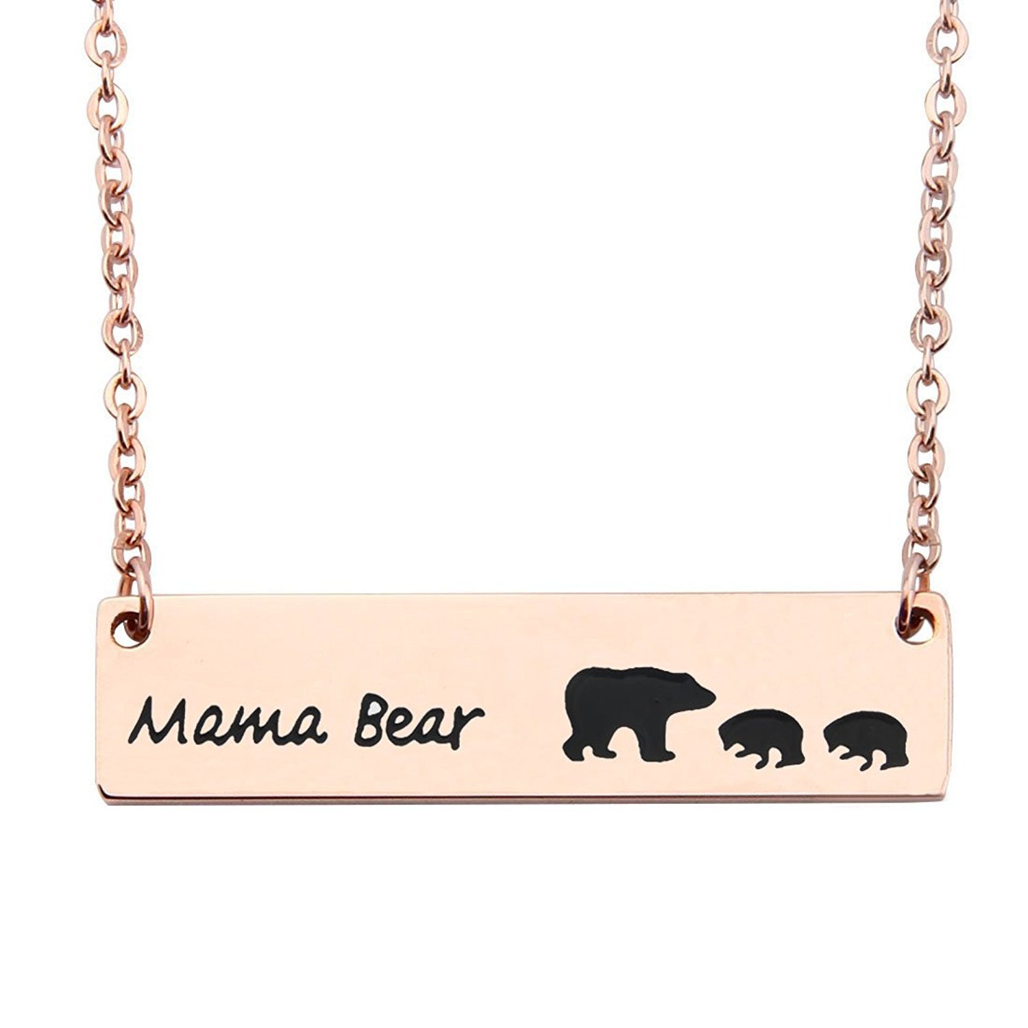 WUSUANED Rose Gold Sweet Mama and Cub Bear Bar Necklace Gift for Mom Grandma Wife