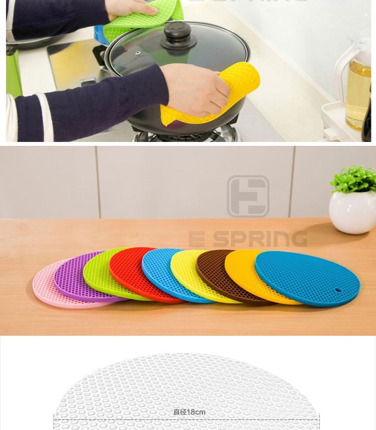 Wholesale Round Non-Slip Kitchen Utensils Silicone Hot Pot Pad Trivet Mat