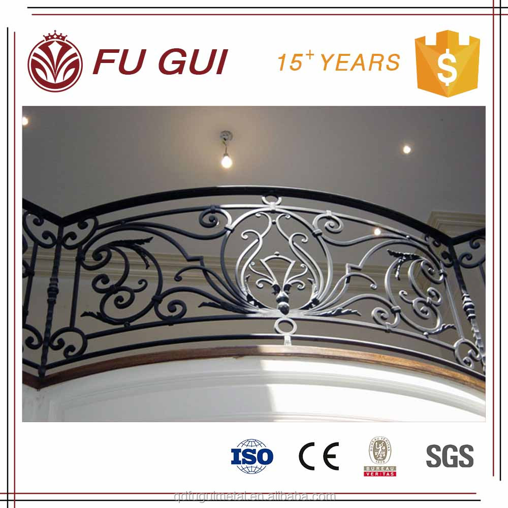 Baroque style hot deep galvanized anticorrosion 100 years wrought iron balcony railing